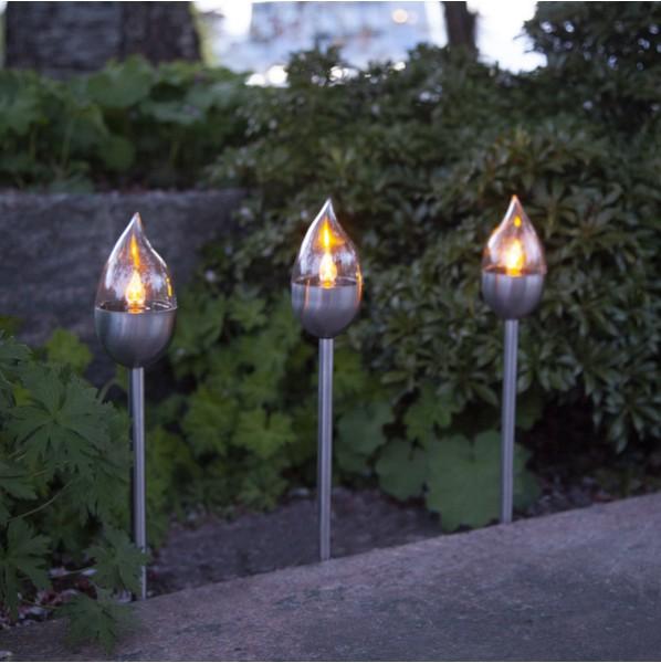 3 Stück Solarlampen Olympus, Höhe ca. 40 cm