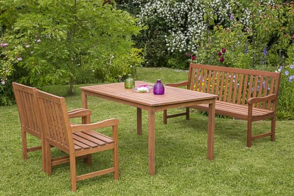 Merxx Santos Set 4-teilig, Sessel, 3-sitzige Bank und Tisch 150 x 90 cm