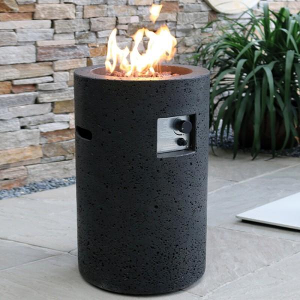 Gardenforma Gas Feuerstelle Merapi in Basaltoptik aus Faserbeton