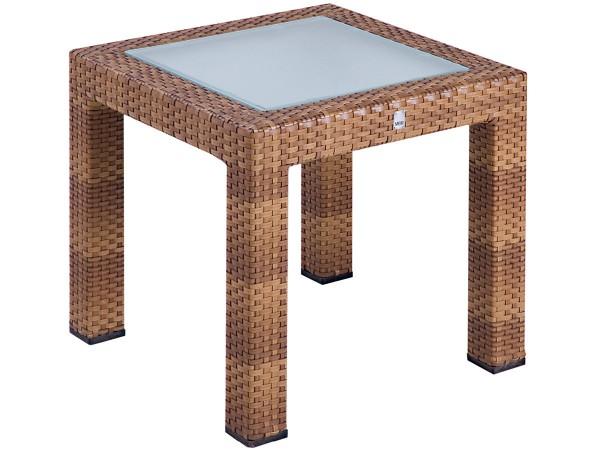 Beistelltisch Bellini Tobacco mit Glasplatte 50 x 50 cm