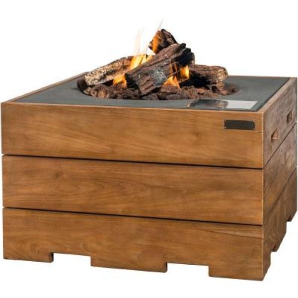 Happy Cocooning Feuertisch Teak-Holz, quadratisch, grau